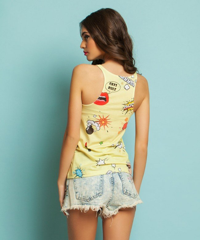'Karlito Yellow PopArt' printed top