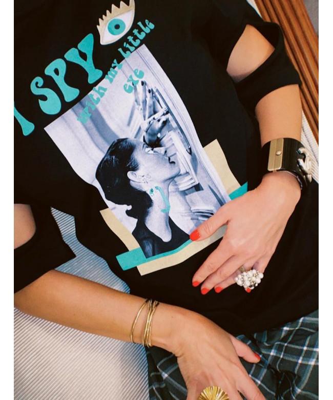 'I SPY' black t-shirt